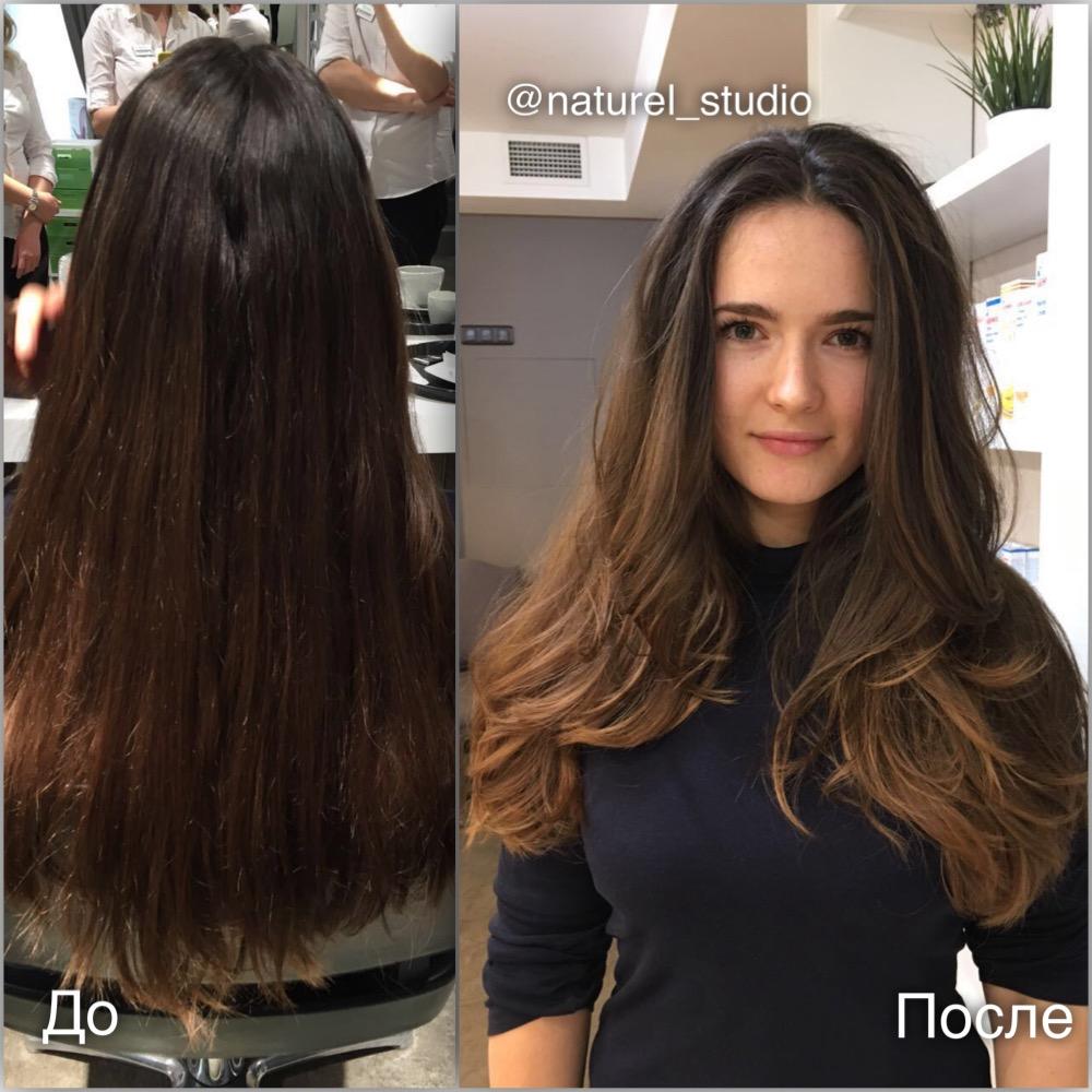 Балаяж брондирование на темных волосах